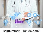 Small photo of Medical Doctor and Alzheimer's sign in Medical network connection on the virtual screen on hospital background.Technology and medicine concept.