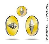 ethereum golden coins.... | Shutterstock .eps vector #1049052989