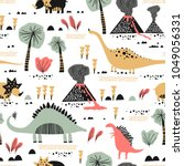 childish seamless pattern with... | Shutterstock .eps vector #1049056331