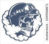 skull biker with smoke emblem... | Shutterstock .eps vector #1049068871