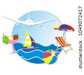 summer vacation  banner  sea ... | Shutterstock . vector #1049072417