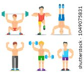 men fitness classes cartoon... | Shutterstock . vector #1049075831