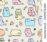 seamless pattern with funny... | Shutterstock .eps vector #1049076284