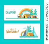 camping. a trip out of town on... | Shutterstock .eps vector #1049076479