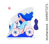 flat girl riding a bicycle.... | Shutterstock .eps vector #1049077271