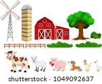 illustration of farm set... | Shutterstock .eps vector #1049092637
