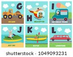 alphabet card with transport... | Shutterstock .eps vector #1049093231
