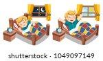 a little boy sleeping on... | Shutterstock .eps vector #1049097149