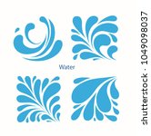 set water blue drops icons.... | Shutterstock .eps vector #1049098037