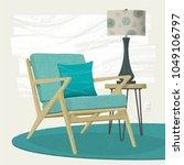 swanky retro living room scene... | Shutterstock .eps vector #1049106797