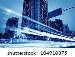 the light trails on the modern... | Shutterstock . vector #104910875