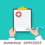 doctor hold clipboard and takes ... | Shutterstock .eps vector #1049123315