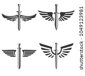 set of emblems with medieval... | Shutterstock .eps vector #1049123981