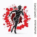runner jogger athletic running... | Shutterstock .eps vector #1049125451