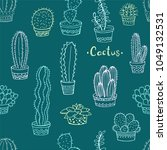 seamless pattern with cactus... | Shutterstock .eps vector #1049132531