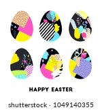 easter eggs isolated. holiday... | Shutterstock .eps vector #1049140355