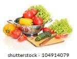 fresh vegetables and knife on... | Shutterstock . vector #104914079