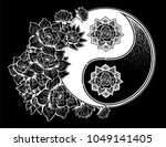 yin and yang symbol with lotus... | Shutterstock .eps vector #1049141405