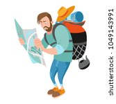 a lost guy holding a map.... | Shutterstock .eps vector #1049143991