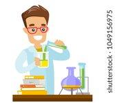 caucasian white student... | Shutterstock .eps vector #1049156975