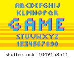 cube alphabet. pixel retro... | Shutterstock .eps vector #1049158511