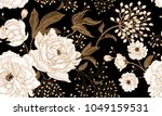 Stock vector peonies and roses floral vintage seamless pattern gold and white flowers leaves branches and 1049159531