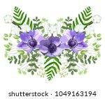 wedding watercolor violet... | Shutterstock .eps vector #1049163194