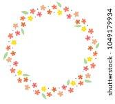 flower doodle wreath vector for ... | Shutterstock .eps vector #1049179934