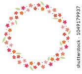 flower doodle wreath vector for ... | Shutterstock .eps vector #1049179937