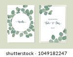 floral card set with eucalyptus ... | Shutterstock .eps vector #1049182247