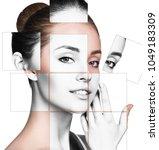face of beautiful woman.... | Shutterstock . vector #1049183309