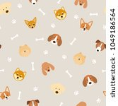 dog breeds head seamless... | Shutterstock .eps vector #1049186564