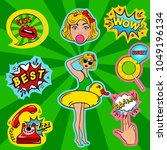 fashion patch badges in pin up... | Shutterstock .eps vector #1049196134