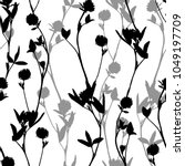 hand drawn floral seamless... | Shutterstock .eps vector #1049197709