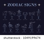 horoscope with zodiac signs and ... | Shutterstock .eps vector #1049199674