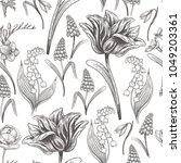 floral vintage seamless pattern ... | Shutterstock .eps vector #1049203361