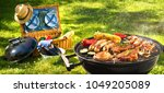 barbecue picnic on a meadow | Shutterstock . vector #1049205089