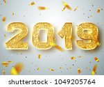 2019 happy new year. gold... | Shutterstock .eps vector #1049205764