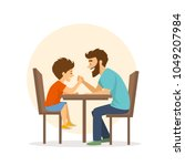 cheerful cute father and son... | Shutterstock .eps vector #1049207984