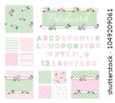 shabby chic textile font and... | Shutterstock .eps vector #1049209061
