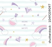 unicorn magic seamless pattern... | Shutterstock .eps vector #1049209097