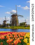 windmills and flowers in... | Shutterstock . vector #1049209625