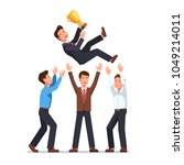 business man team tossing in... | Shutterstock .eps vector #1049214011