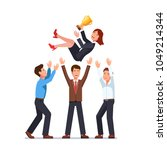 business men team tossing in... | Shutterstock .eps vector #1049214344
