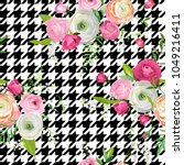 floral seamless pattern with... | Shutterstock .eps vector #1049216411