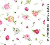 summer floral seamless pattern... | Shutterstock .eps vector #1049216591
