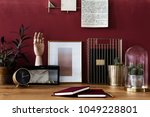 close up of books  gold clock ... | Shutterstock . vector #1049228801