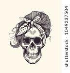 stylish human skull with... | Shutterstock .eps vector #1049237504