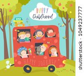 cute children traveling by bus | Shutterstock .eps vector #1049237777