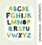 alphabet. hand drawn letters... | Shutterstock .eps vector #1049240471